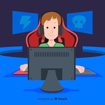 コンピューターゲーマーの未来的な背景