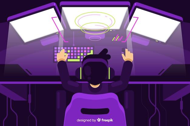 Футуристический фон компьютерного геймера