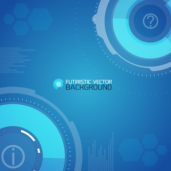 Futuristic background with abstract circles and hexagons