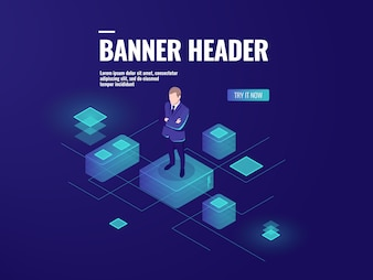 Futuristic background with man stay on the platform, business audit, data analysis
