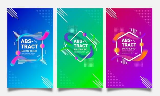 Futuristic backgrounds set with abstract geometric shapes and gradients
