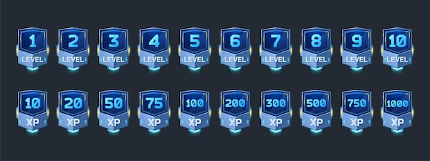 Distintivi futuristici con numero di livello e punti esperienza per il design dell'interfaccia utente del gioco icone vettoriali dei cartoni animati di...