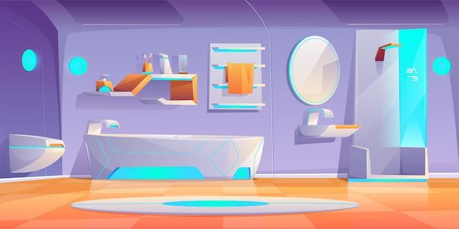 未来的なバスルームのインテリア家具など