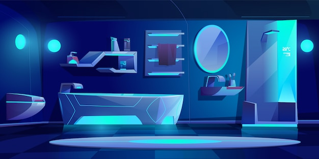 Futuristic bathroom interior with furniture and stuff glowing with neon light at darkness, bath tub, shower cabin, washbasin, toilet bowl, mirror, shelf, night modern home.