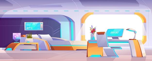 家具、空のアパートまたは宇宙船のインテリアと未来的なベッドルーム