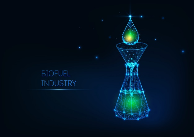 Futuristic biofuel industry concept with glowing low poly green petroleum drop