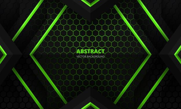 六角形のカーボンファイバーグリッドと黒い三角形を備えた未来的な黒と緑の抽象的なゲームバナー
