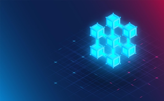 미래형 블록체인 연결. 미래 concept.vector 및 그림