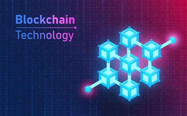 Futuristic blockchain technology connection icon. future concept.vector and illustration