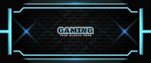 Футуристический синий и черный игровой заголовок шаблон баннера в социальных сетях