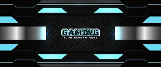 미래 지향적인 파란색과 검은색 게임 헤더 소셜 미디어 배너 템플릿