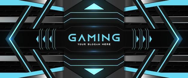 未来的な青と黒のゲームヘッダーソーシャルメディアバナーテンプレート