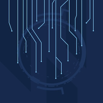 Футуристический синий фон с линиями схемотехники