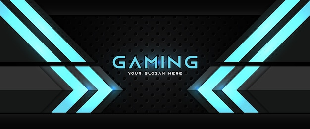 Futuristic blue and black gaming header social media banner template