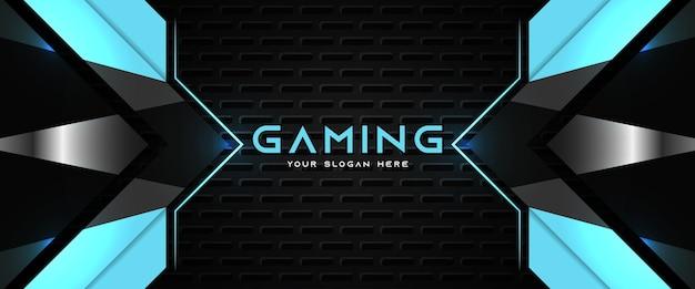 Futuristic blue and black gaming header social media banner template