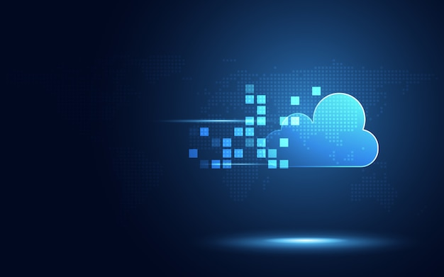 Futuristic blue cloud with pixel digital transformation abstract technology background
