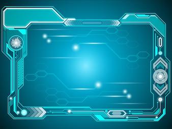 Futuristic blue frame technology background