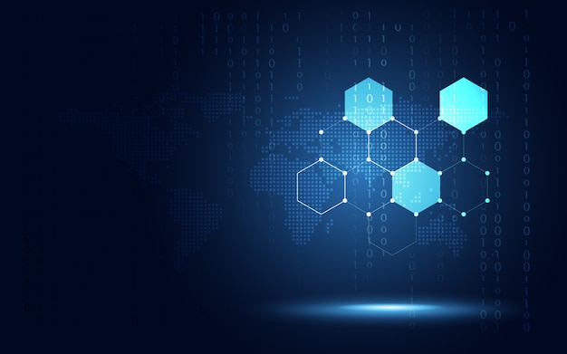 Futuristic blue hexagon honeycomb background