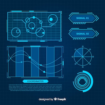 Futuristic blue infographic element collection