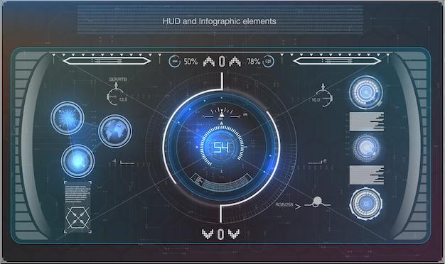 Футуристическая синяя инфографика в виде проекционного дисплея. отображение элементов навигации для интернета и приложения.