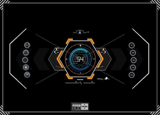 Futuristic blue infographics as head-up display.