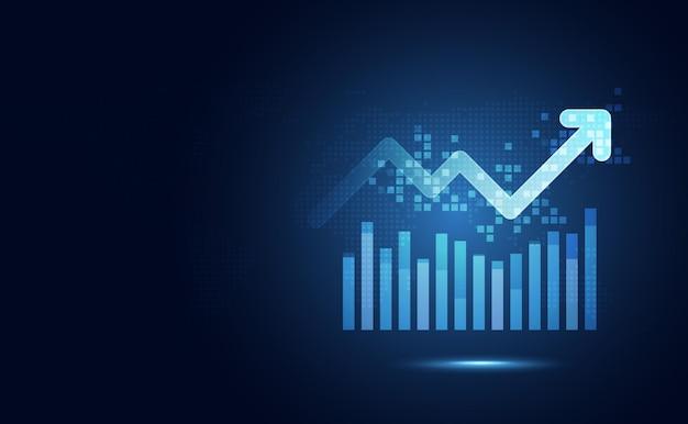矢印の抽象的な技術の背景を持つ未来的な青い上昇棒グラフ。