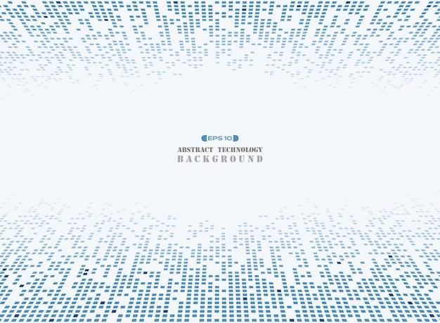 Futuristic blue square technology pattern background.