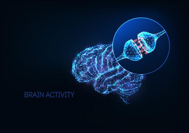 Футуристическая концепция мозговой активности со светящимися низкополигональными синапсами человеческого мозга и нейрона