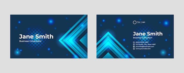 미래 지향적인 명함 디자인입니다. 추상적인 게임과 기술 개념이 있는 현대적인 모양입니다. 럭셔리 어두운 그라데이션 배경입니다. 벡터 일러스트 레이 션 인쇄 템플릿