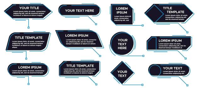Футуристический шаблон выноски, цифровые текстовые поля строки и набор векторных меток выноски. коллекция всплывающих окон или окон описания, пузырей речи. простые элементы дизайна.