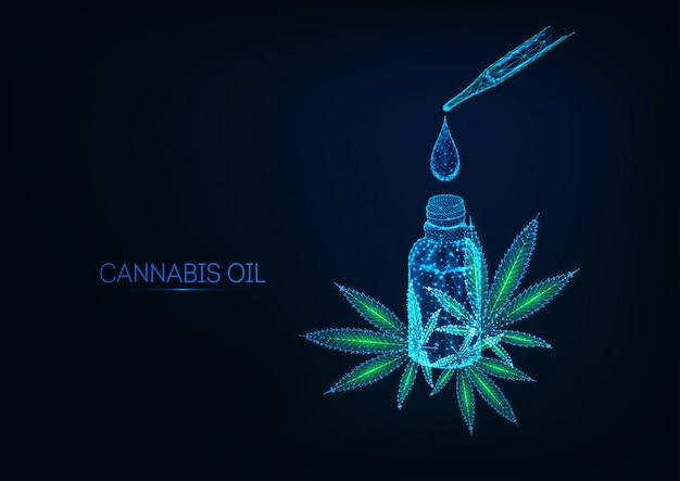Futuristic cannabidiol oil extract concept with glowing bottle, drop, pipette and cannabis leaves