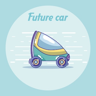 Futuristic car cartoon over colorful background
