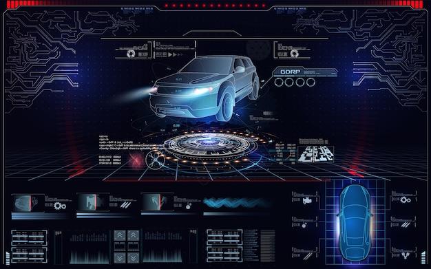 Футуристический автомобильный пользовательский интерфейс. голограмма автомобильного стиля в hud, ui gui. аппаратная диагностика состояния автомобиля. виртуальный графический интерфейс ui gui hud автоматическое сканирование, анализ и диагностика