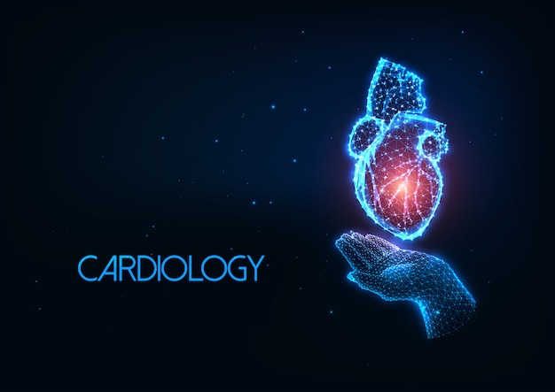 Futuristic cardiology concept with glowing polygonal human hand holding heart organ