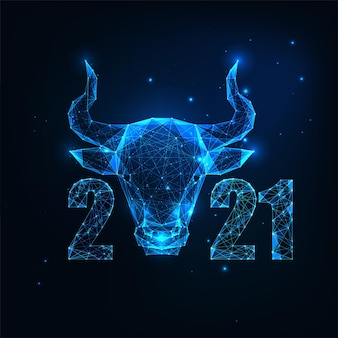 Futuristic chinese new year greeting card template with glowing low polygonal ox horoscope sign and numbers on dark blue background. modern wireframe mesh design
