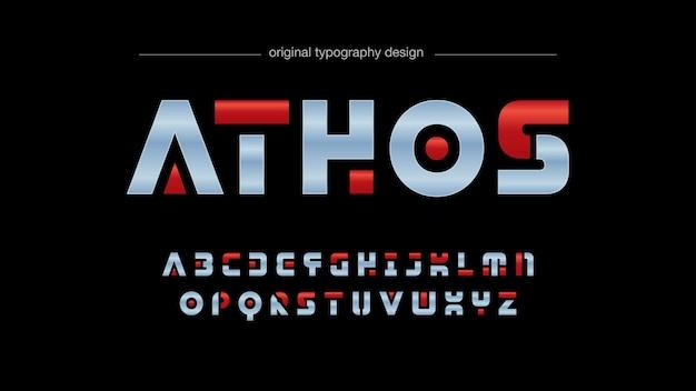 Futuristic chrome red typography