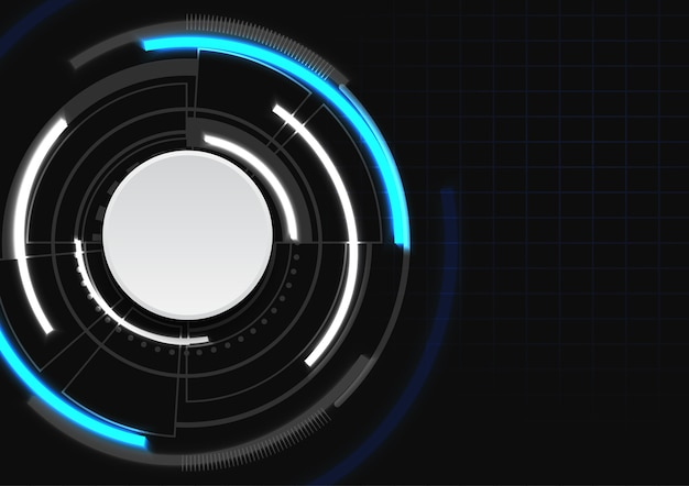 Futuristic circle with blue and white color on dark background