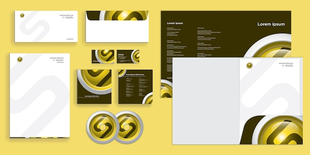 Futuristic circle with letter s modern corporate business identity stationary