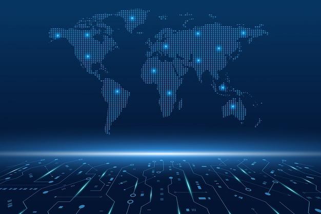 미래의 회로 기판 및 세계지도, 전자 마더 보드, 통신 및 엔지니어링 개념, 하이테크 디지털 기술 개념