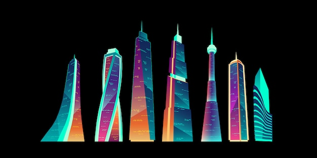Futuristic city buildings with neon glowing set.