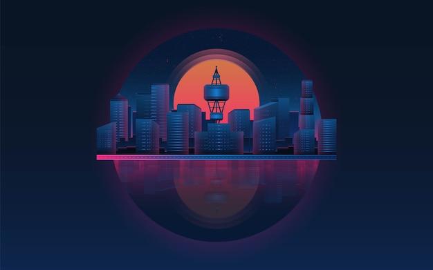 Футуристический городской пейзаж с закатом. концепция темы будущего