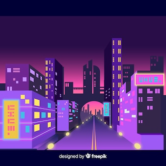 Futuristic city at night illustration