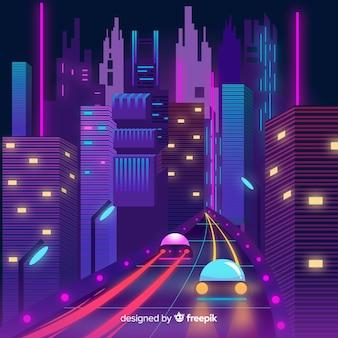 Futuristic city at night illustration