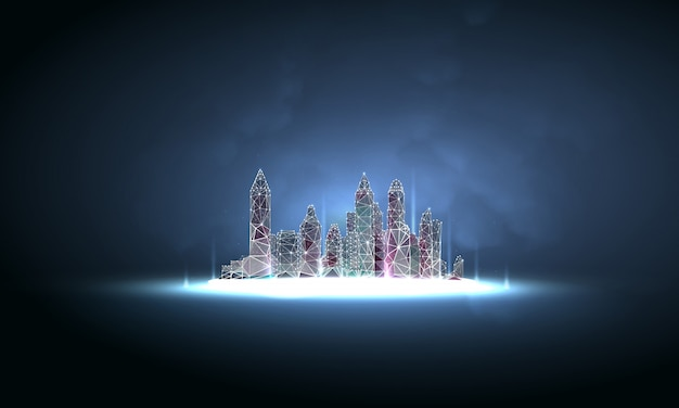 Futuristic city in polygonal wireframe style