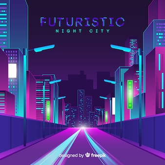 Futuristic city road background