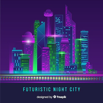 Futuristic city skyline background