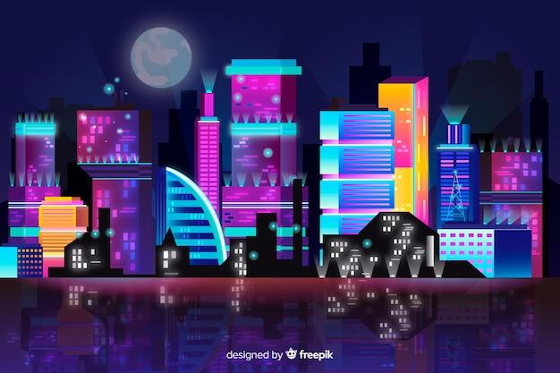 Futuristic city skyline background