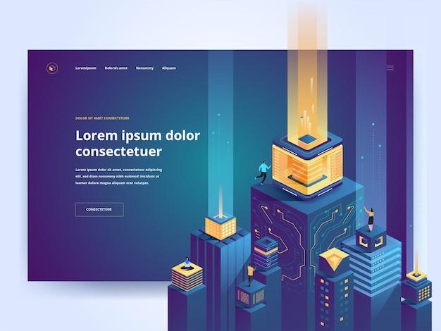 아이소메트릭 일러스트레이션이 있는 미래 도시 웹사이트 홈페이지 인터페이스 아이디어. 가상 데이터베이스