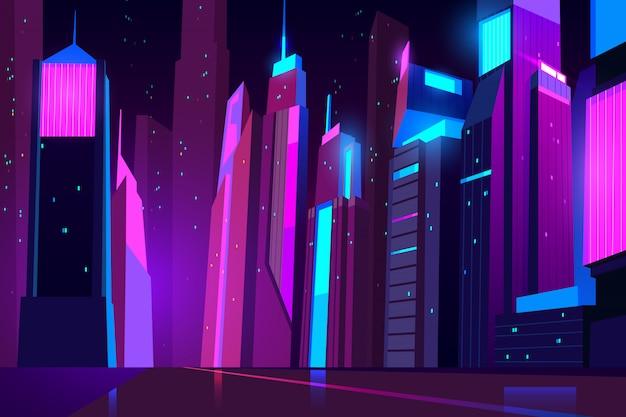 輝く照明と未来的な街並みと道路ビュー。