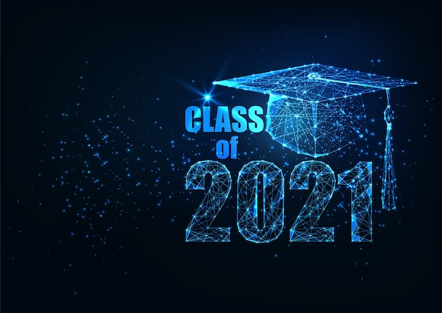 빛나는 낮은 다각형 대학원 모자와 졸업 개념의 미래 클래스